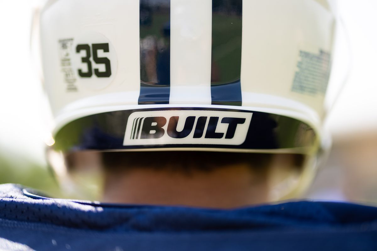 A Built logo adorns the practice helmet of a BYU football player at the school's practice facility in Provo, Utah.