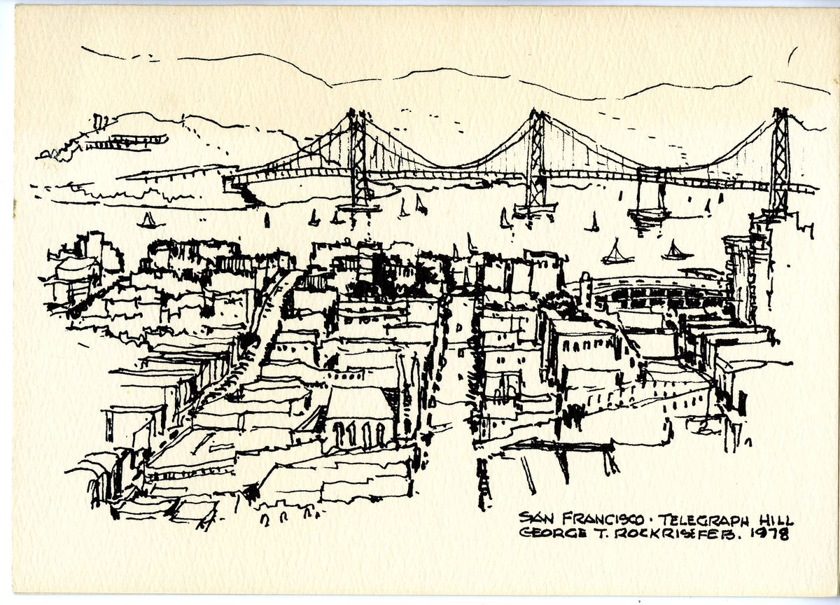 A holiday card by architect George Rockrise shows a San Francisco scene