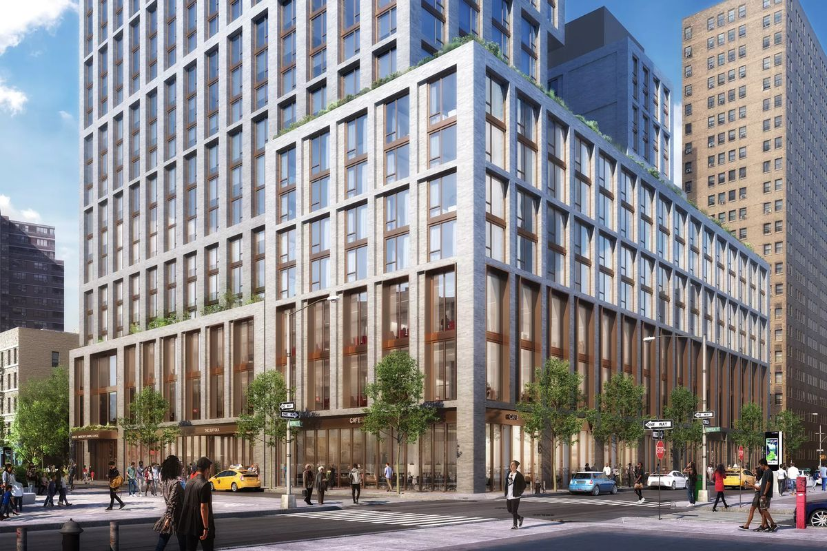 A digital rendering of the silver glass and brick facade of 60 Norfolk Street.