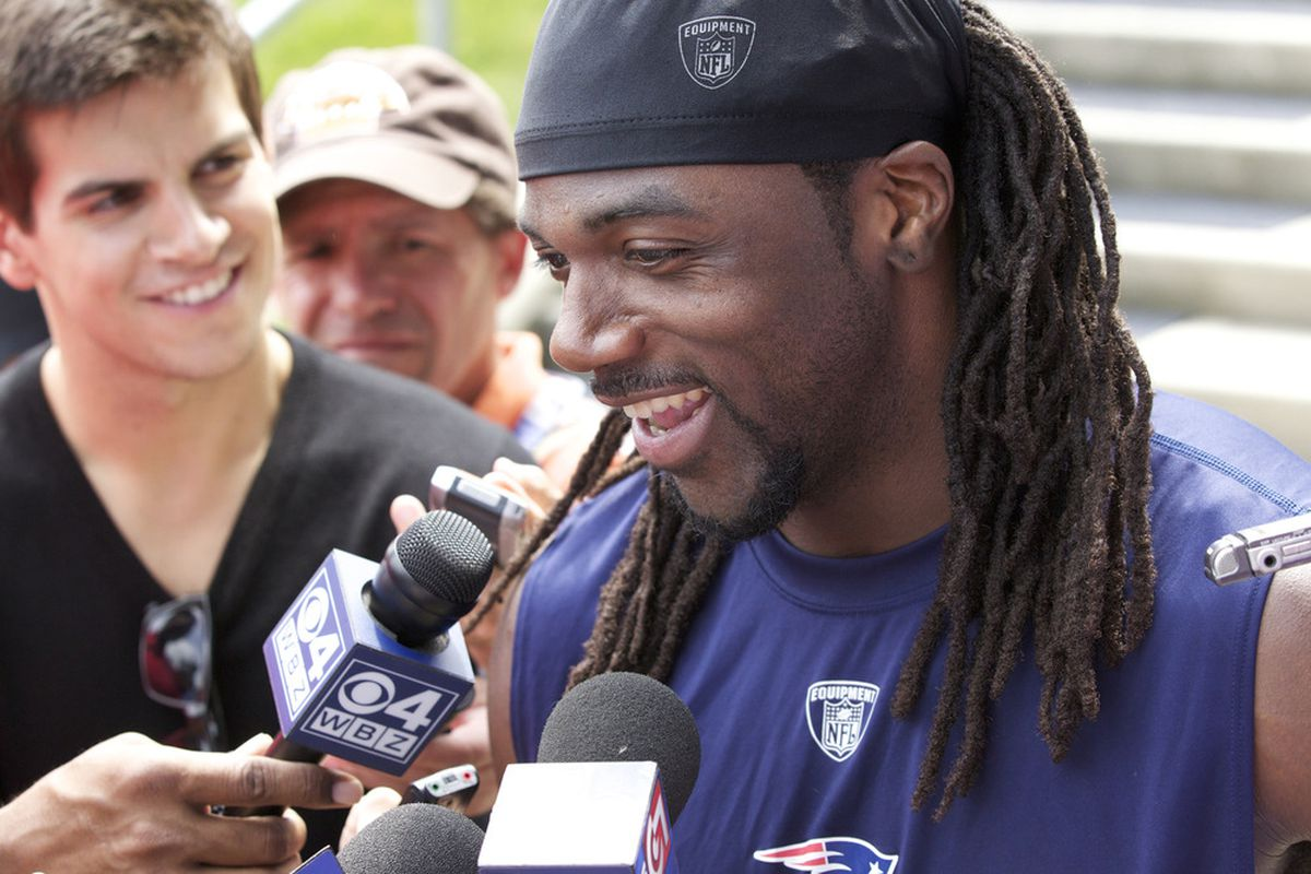 June 12, 2012; Foxborough, MA, USA; New England Patriots wide receiver Donte' Stallworth (19) takes questions from reporters after mini camp at the Gillette Stadium practice facility. Mandatory Credit: David Butler II-US PRESSWIRE