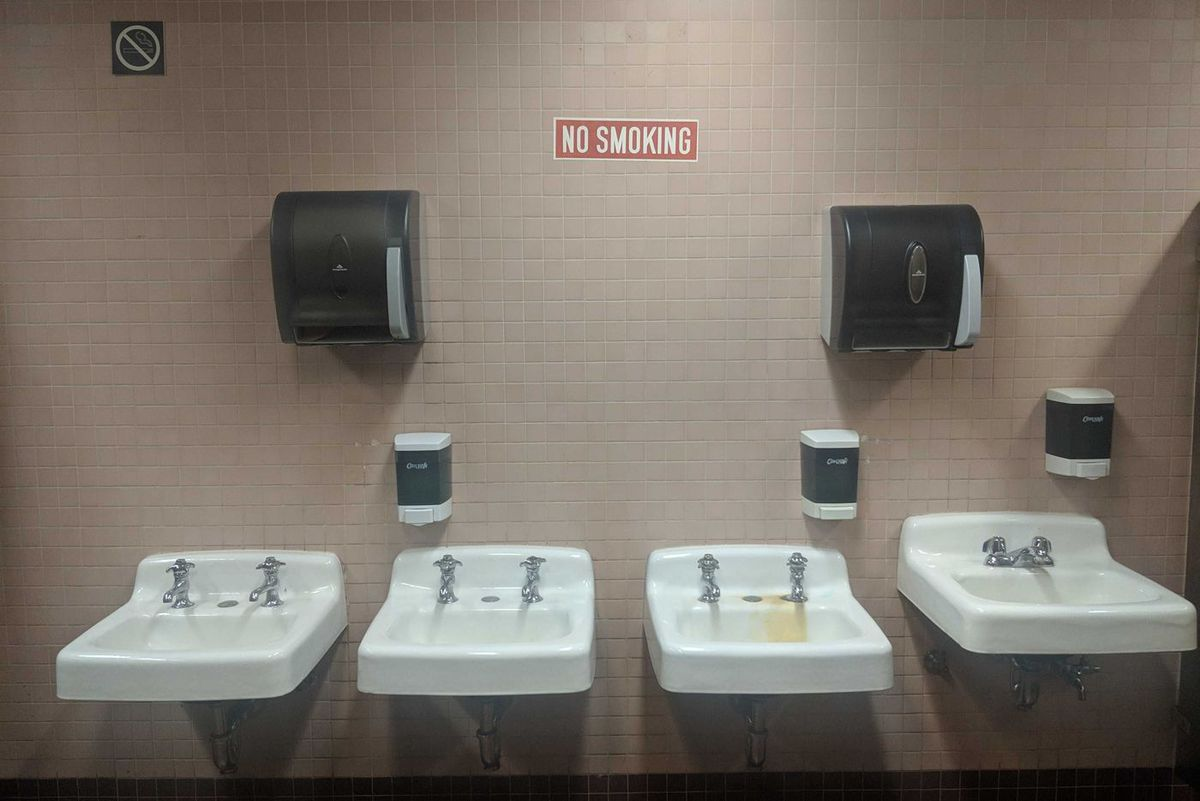 A bathroom in the Bronx County Building.