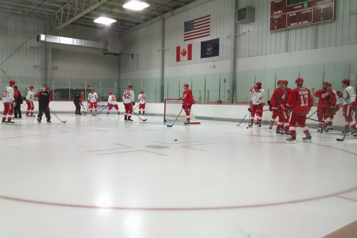 Team Delvecchio practice in the Red Wings 2015 Training Camp at Centre Ice Arena in Traverse City, MI.