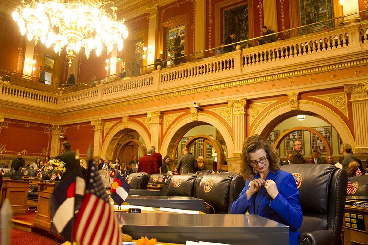 State Sen. Rachel Zezninger, an Arvada Democrat, on the first day of the legislative session.