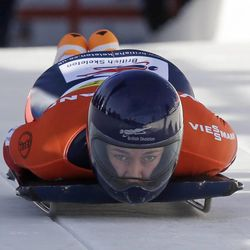 Great Britain's Elizabeth Yarnold competes at the at the women's skeleton World Cup event on Friday, Dec. 6, 2013, in Park City. Yarnold came in second place.
