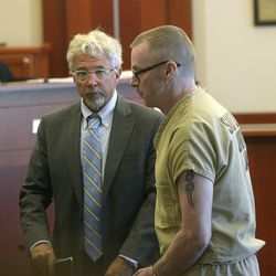 Defense attorney Mark Moffat, left, watches as Craig Crawford pleads guilty in the death of John Williams, his estranged husband, during an appearance in Judge Vernice Trease's 3rd District courtroom in Salt Lake City on Tuesday, June 27, 2017. Crawford admitted to trapping the prominent restaurateur in his home and setting it ablaze, killing him.