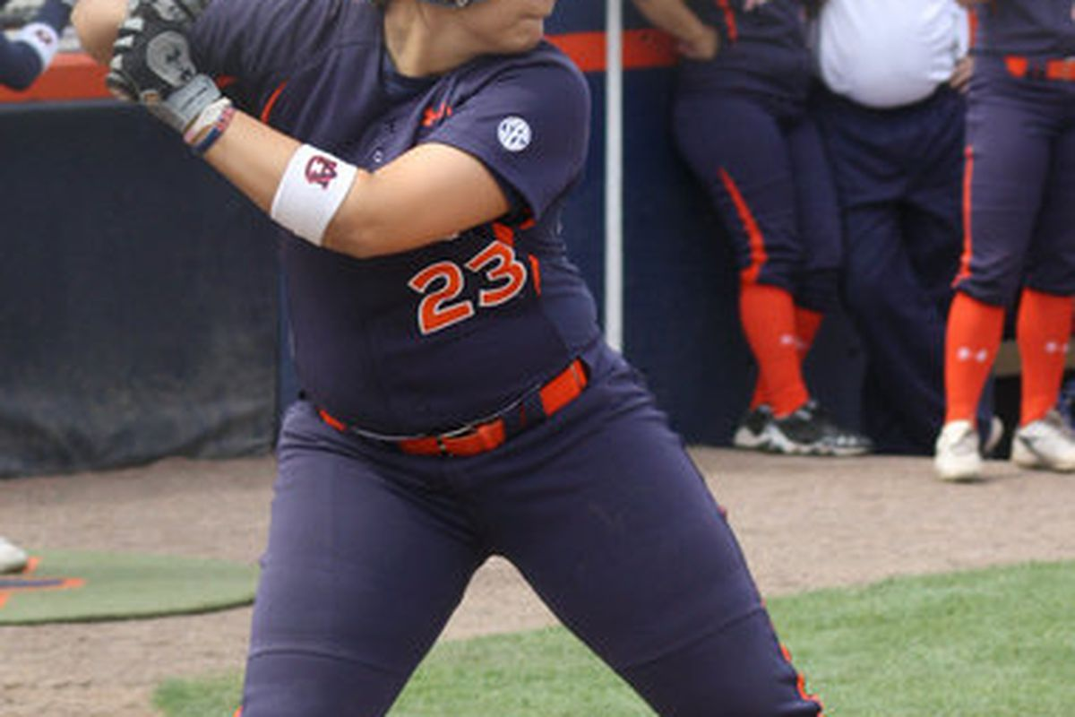 Auburn's Hilary Mavromat hit a seventh inninng solo home run in the Tigers' 2-1 loss to Eastern Division Champion Tennessee in the first round of the SEC Softball Tournament.(<em> Auburn photo / Melisa Hazeldine</em>)