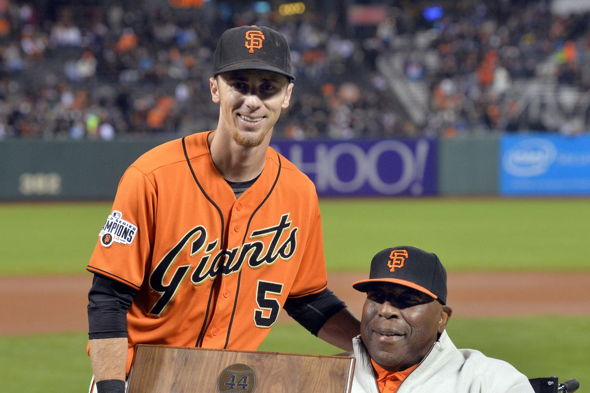 San Francisco Giants Matt Duffy (5), left, and Willie McCovey get their photo taken together after Duffy won the annual Willie Mac Award before the start of the Giants baseball game at AT&T Park in San Francisco, Calif., on Friday, Nov. 2, 2015. (Doug Dur