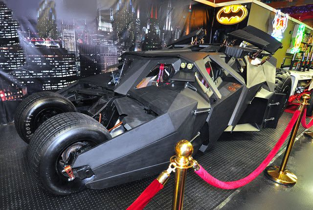 The Tumbler, made famous in the Christopher Nolan Batman movies, is a cross between a Lamborghini and a tank. This particular Tumbler was restored from the wreckage of a stunt car that was heavily damaged on set.   Volo Auto Museum photo