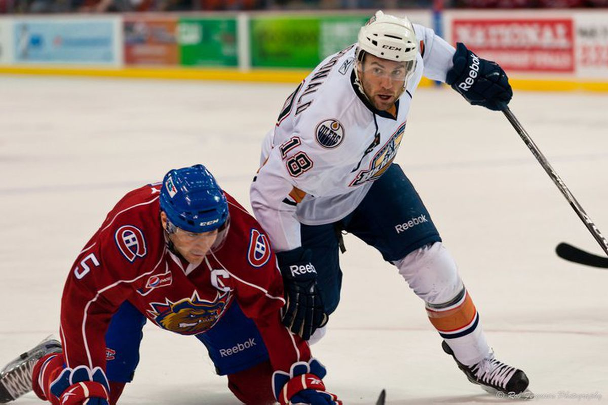 """Even Colin McDonald, who's putting up career numbers, couldn't get the offense rolling for the Barons this weekend. Photo courtesy of <a href=""""http://www.okchockey.com/"""" target=""""new"""">Rob Ferguson & okchockey.com</a>"""