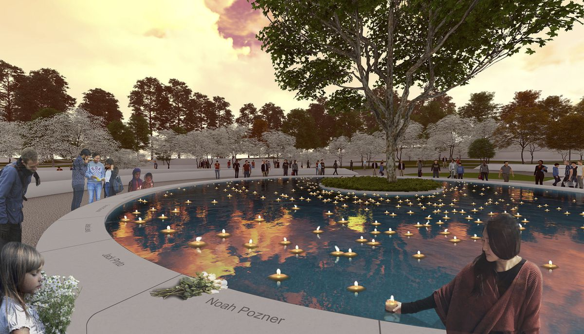 A rendering of the Sandy Hook Memorial's reflecting pool at dusk with dozens of floating candles in the water