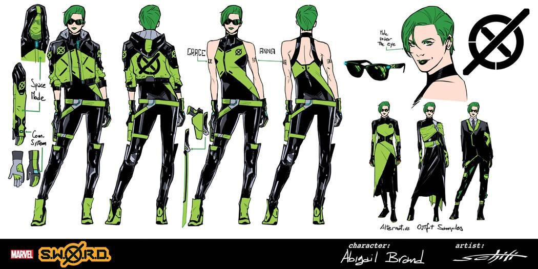 Character designs for Abigail Brand, who wears a tight green an black unitard, with green boots and a black and green jacket and sunglasses. Her hair and lipstick are, likewise, green.