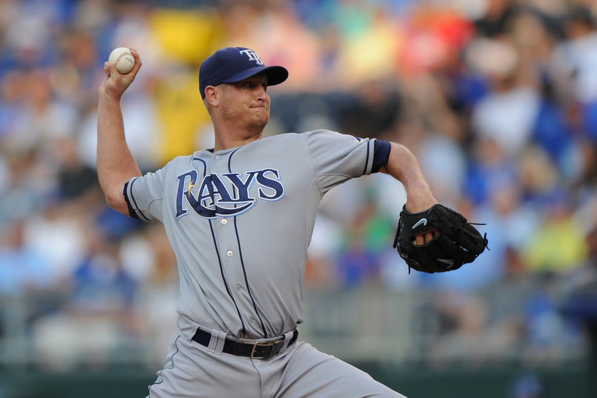 June 25, 2012; Kansas City, MO, USA; Tampa Bay Rays pitcher Alex Cobb (53) delivers a pitch against the Kansas City Royals during the first inning at Kauffman Stadium.  Mandatory Credit: Peter G. Aiken-US PRESSWIRE