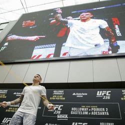 Dustin Poirier at UFC 236 open workouts.