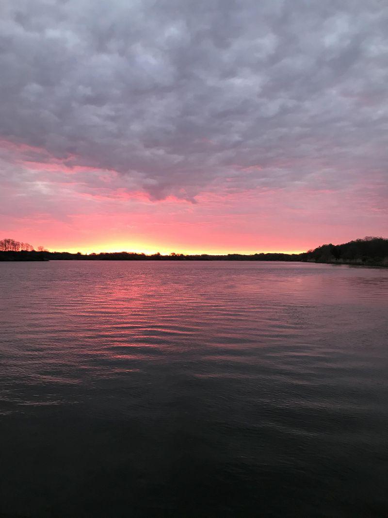 "Sunrise over Braidwood Lake. Credit; Ken ""Husker"" O'Malley"