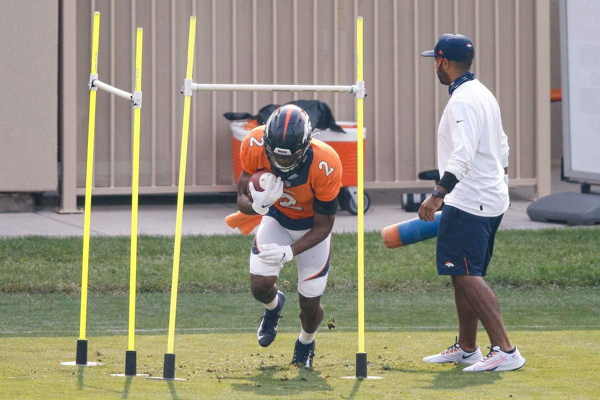 Denver Broncos wide receiver Kendall Hinton (2) runs a drill during training camp at the UCHealth Training Center.
