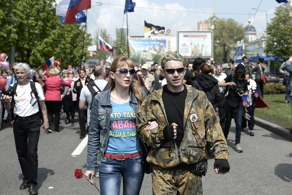 Ok, so these pro-Russian protesters in Donetsk might like the idea of seceding. But they're the minority!