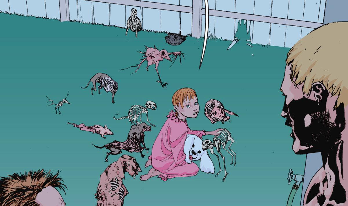 Maxine holds a plush dog as the skeletal and rotting remains of several small urban animals — rats, rabbits, birds, a small dog — crowd around her. She strokes a cat skeleton as it rubs its head against her in Animal Man #1 (2011).