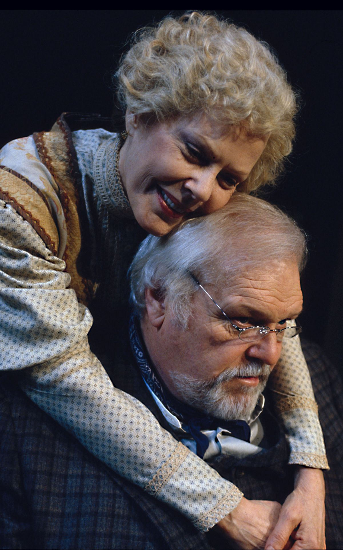 Pamela Payton-Wright (Mary Cavan Tyrone) and Brian Dennehy (James Tyrone) in Eugene O'Neill's Long Day's Journey Into Night directed by Robert Falls at Goodman Theatre (February 22 – April 6, 2002).  