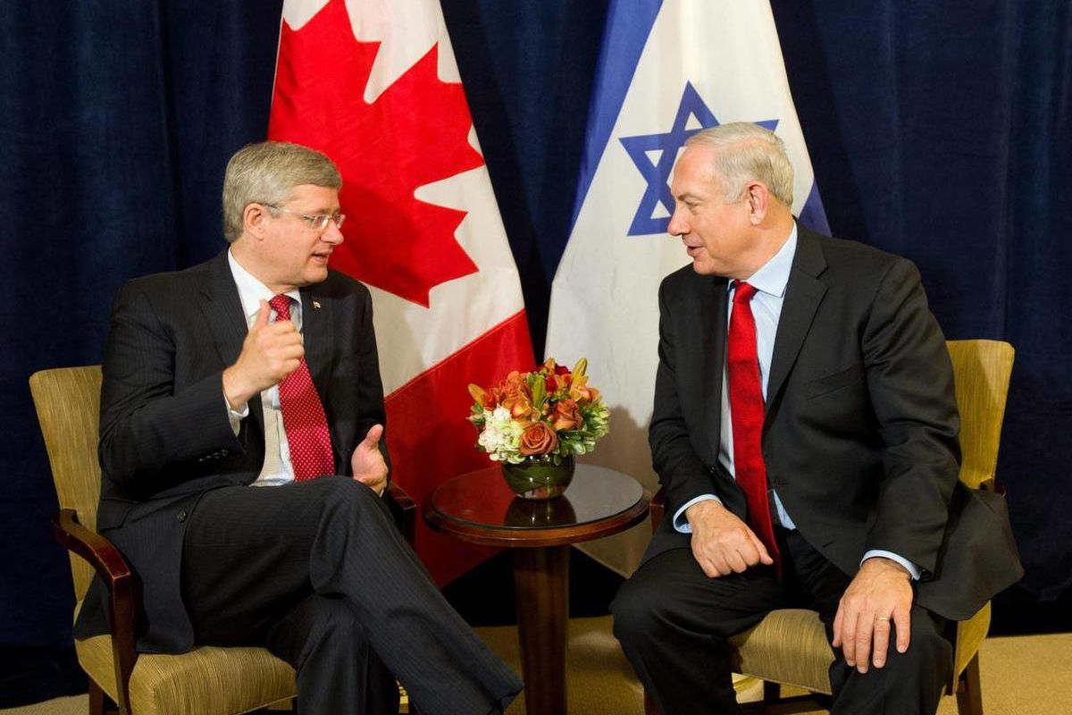 Canada's Prime Minister Stephen Harper, left,  takes part in a bilateral meeting with Israeli Prime Minister Benjamin Netanyahu in New York on Friday, Sept. 28, 2012.