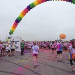 The finish line of The Color Run 5K in Irvine, Calif.
