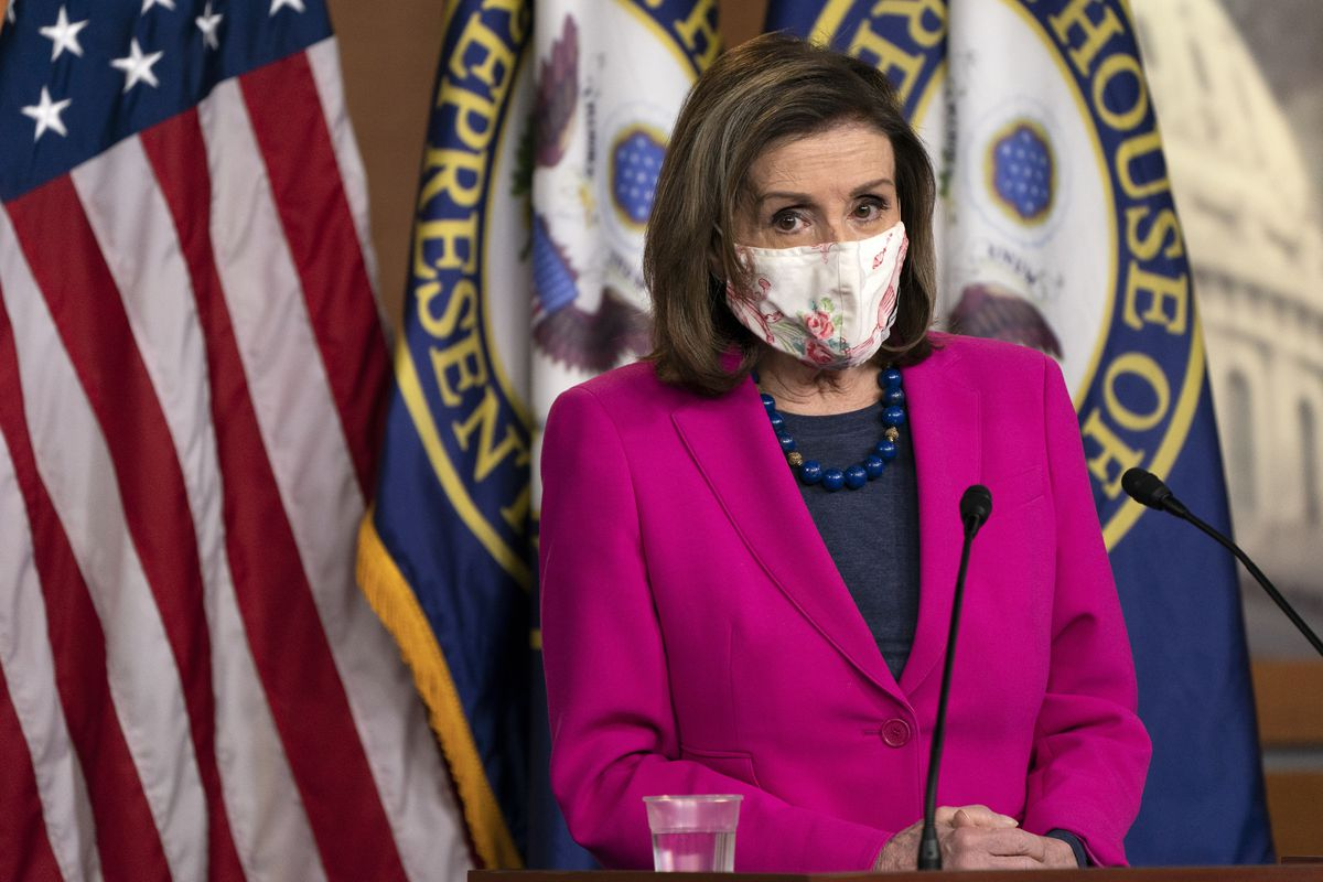 In this Feb. 25, 2021, file photo, House Speaker Nancy Pelosi of Calif., speaks during her weekly briefing on Capitol Hill in Washington.