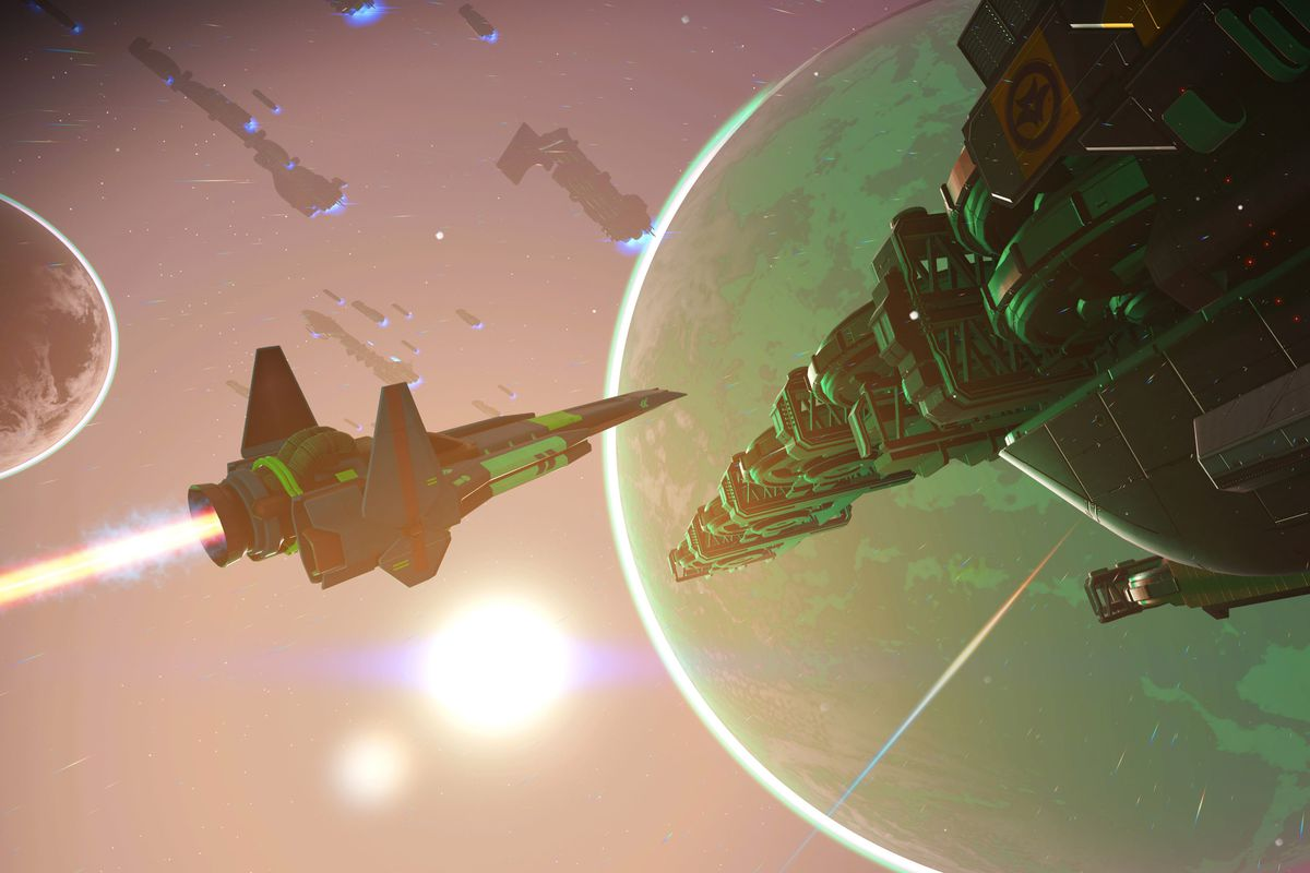 A screenshot of a space ship and freighter orbiting a planet in No Man's Sky