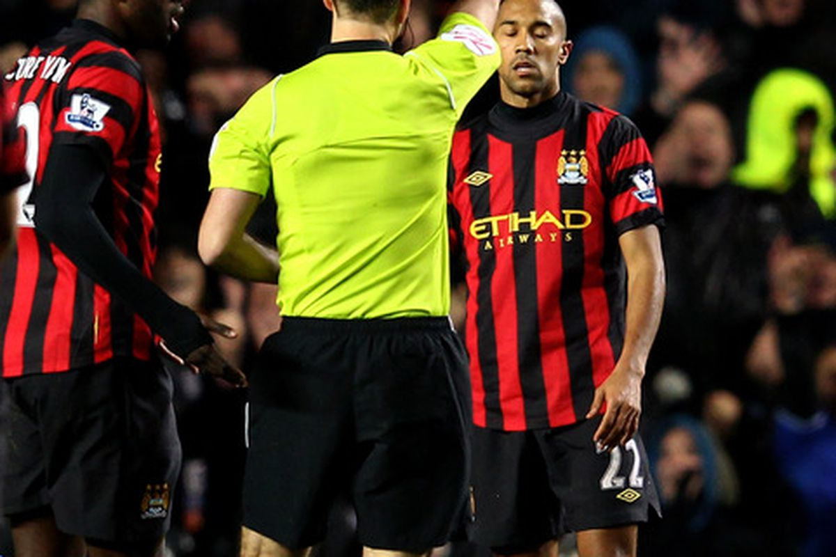 No Gooner was surprised to see that from Clichy in a big match against a quality winger.  (Photo by Julian Finney/Getty Images)