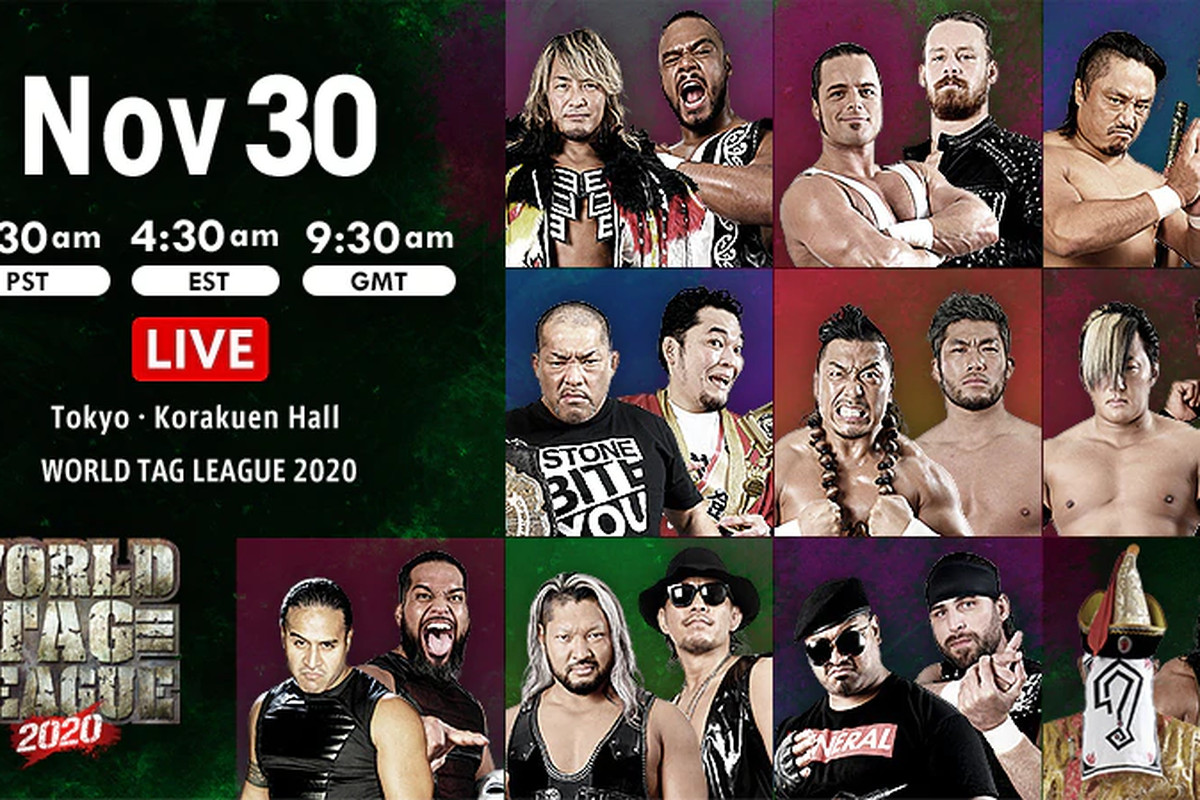 Lineup graphic for night twelve of NJPW World Tag League 2020