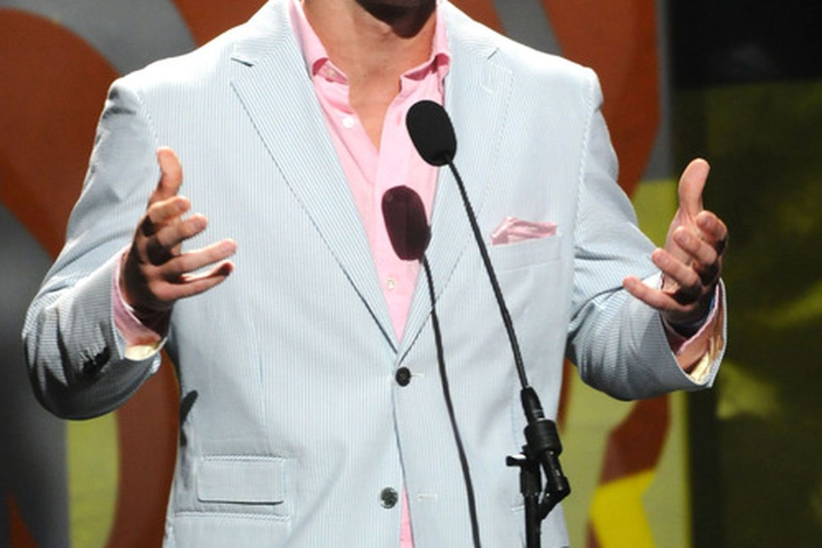 ATLANTA, GA - APRIL 20:  NFL player Tim Tebow speaks onstage at the 42nd Annual GMA Dove Awards at The Fox Theatre on April 20, 2011 in Atlanta City. The show airs on GMC on Sunday April 24th 2011.  (Photo by Rick Diamond/Getty Images for GMA)