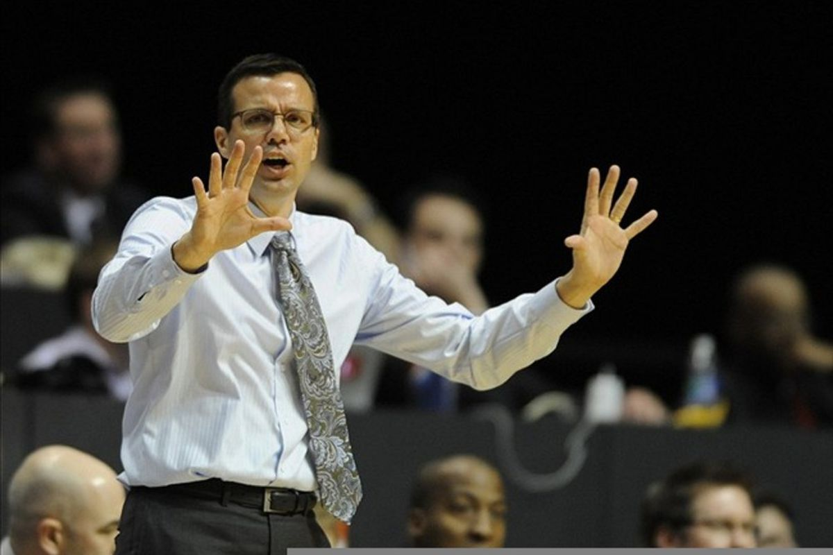 February 25, 2012; San Diego, CA, USA; Colorado State Rams head coach Tim Miles during the second half against the San Diego State Aztecs at Viejas Arena. The Aztecs won 74-66. Mandatory Credit: Christopher Hanewinckel-US PRESSWIRE