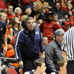 BYU fans are upset with a call during a game at the Jon M. Huntsman Center on Saturday, Dec. 14, 2013.