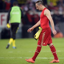 Bayern's Franck Ribery of France leaves the pitch disappointed after losing the German first division Bundesliga soccer match between Borussia Dortmund and Bayern Munich in Dortmund , Germany, Wednesday, April 11, 2012. Dortmund defeated Bayern with 1-0.