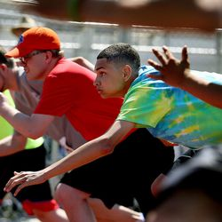 Dominick Abbott, of the Oquirrh Mountain Athletes, right, takes off at the starting line in the 50-meter race at the Special Olympics Utah's 48th annual Summer Games at Provo High School on Friday, June 2, 2017. Nearly 1,300 athletes will compete during the two-day event with support from nearly 500 coaches and hundreds of volunteers.