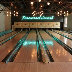 Six reclaimed bowling lanes