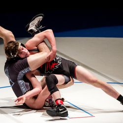 Layton's Quade Smith, left, beats American Fork's Dallan Hunsaker in the 120-pound finals match at the 6A wrestling state championship at Corner Canyon High School in Draper on Friday, Feb. 19, 2021.