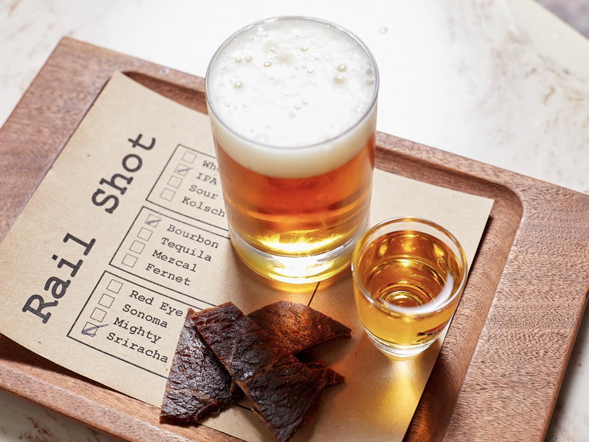 Beer, shot, jerky at Third Rail
