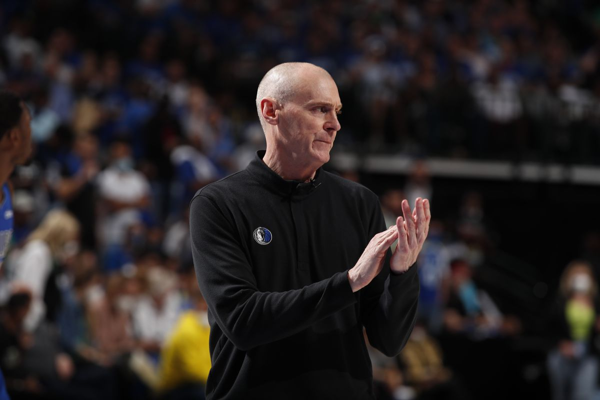 Head Coach Rick Carlisle of the Dallas Mavericks claps during the game against the LA Clippers during Round 1, Game 6 of the 2021 NBA Playoffs on June 4, 2021 at the American Airlines Center in Dallas, Texas.
