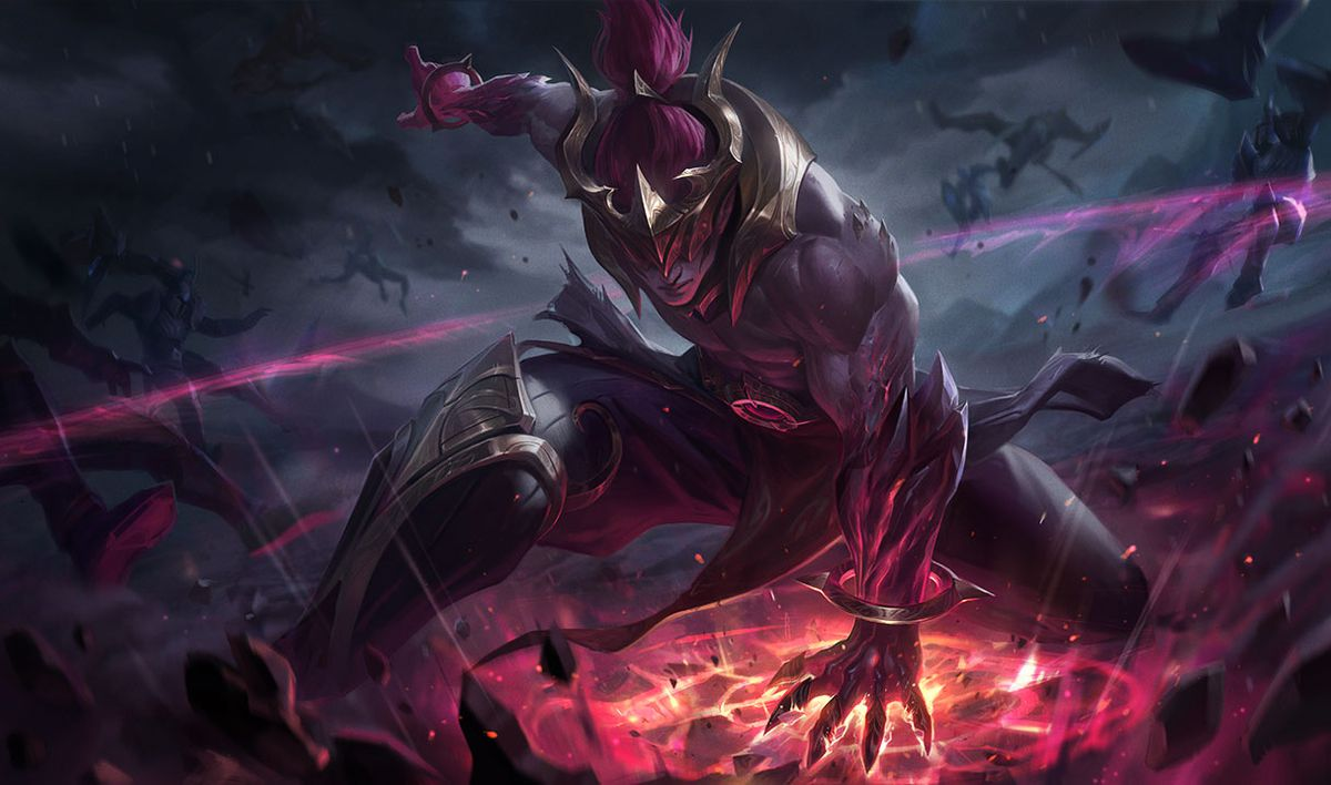Nightbringer Lee Sin slams the ground, creating a dark red pulse