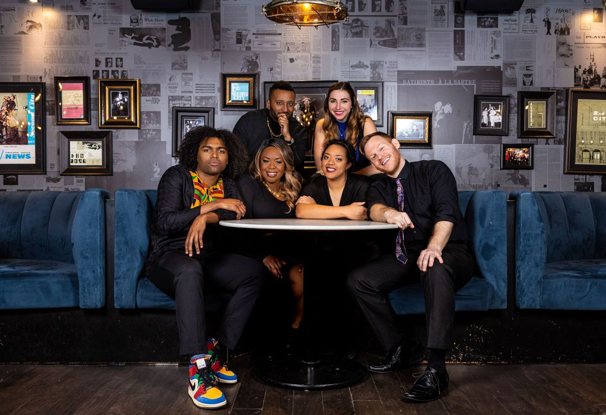 Robel Arega (clockwise back row, from left), Leila Gorstein, Bill Letz, Jillian Ebanks, Colette Gregory and Max Thomas are the cast of Second City's Black History Month Show.
