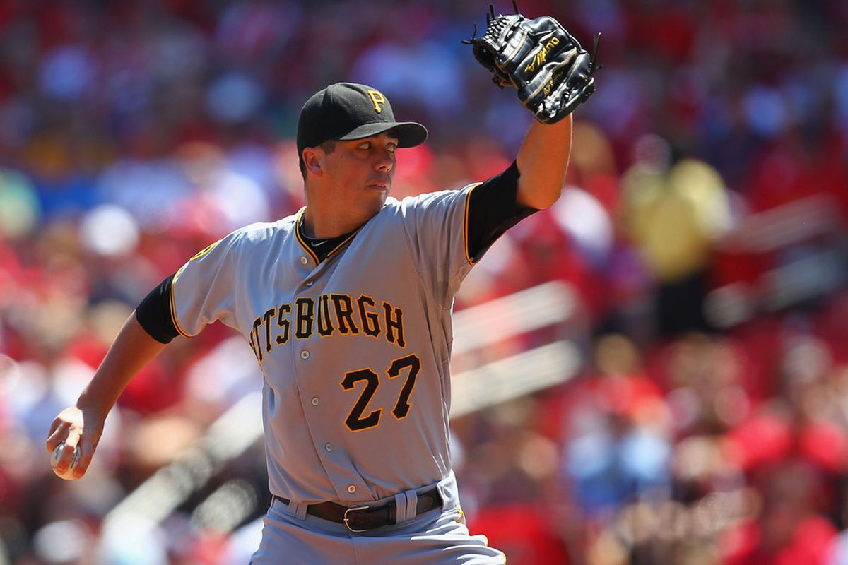 ST. LOUIS, MO - AUGUST 28: Starter Jeff Karstens #27 of the Pittsburgh Pirates pitches against the St. Louis Cardinals at Busch Stadium on August 28, 2011 in St. Louis, Missouri.  (Photo by Dilip Vishwanat/Getty Images)