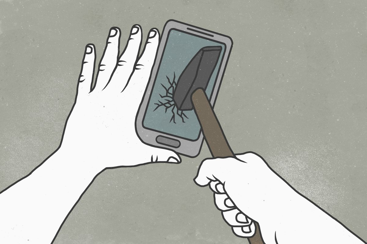 Illustration of a person smashing a phone with a hammer.