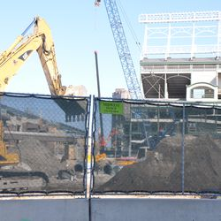Major excavation work in the triangle lot -