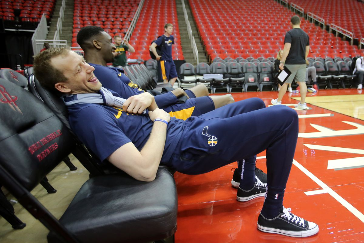 Utah Jazz forward Joe Ingles (2) and Utah Jazz center Ekpe Udoh (33) laugh as they talk after practice as the Utah Jazz prepare to play the Houston Rockets in game one of the NBA playoffs at the Toyota Center in Houston on Sunday, April 14, 2019.