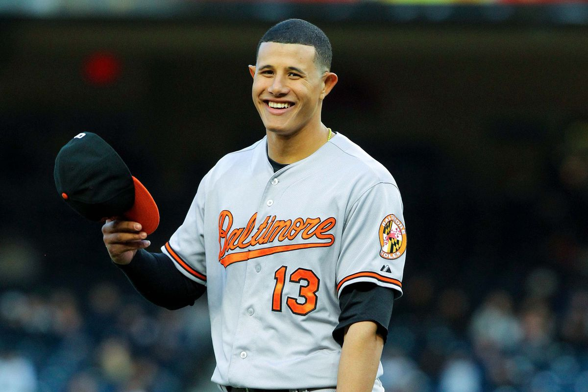 Manny Machado is all smiles....although I'm betting it has nothing to do with playing in Oakland for the next four days.