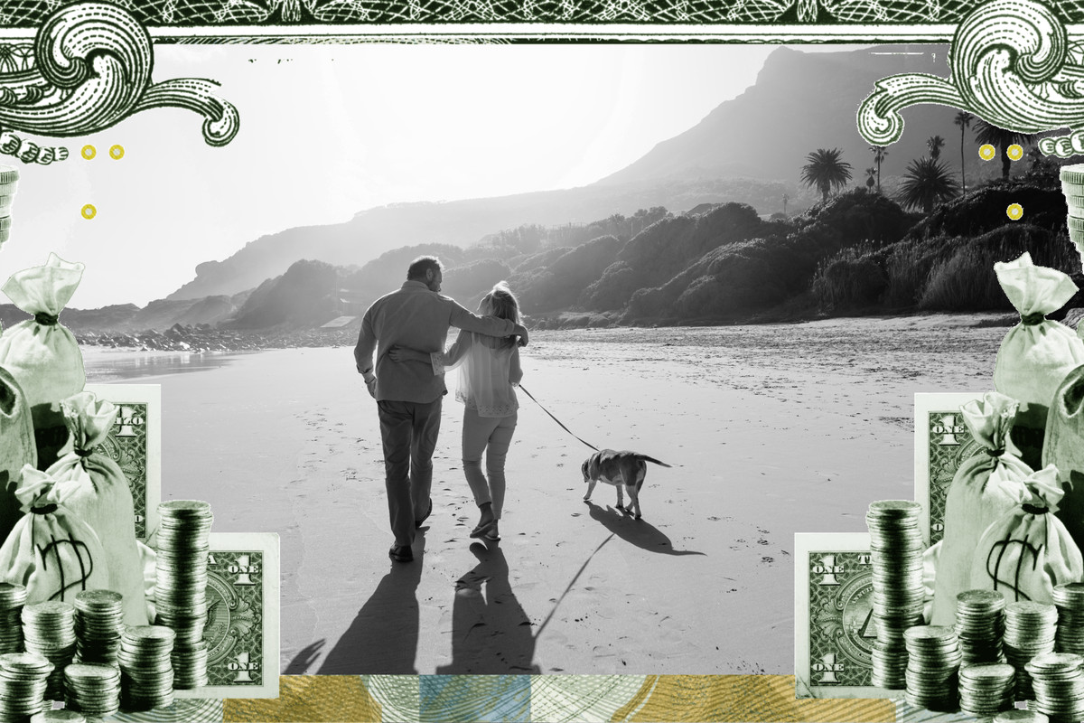 In this photo illustration, a couple walks along a beach with a dog on a leash. The frame around the picture is a collage of cash.