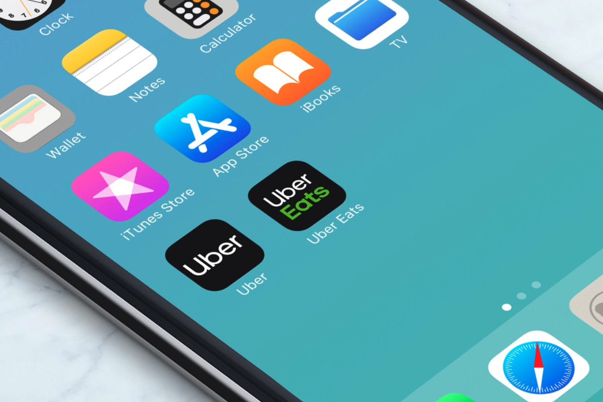 Uber and UberEats apps on iPhone screen