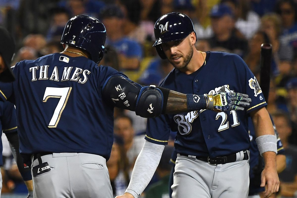 brewers beat dodgers     long contest brew crew ball