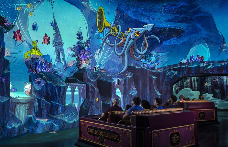 "Guests travel underwater as part of their journey through the vibrant world of ""Mickey Mouse"" cartoon shorts in Mickey & Minnie's Runaway Railway"