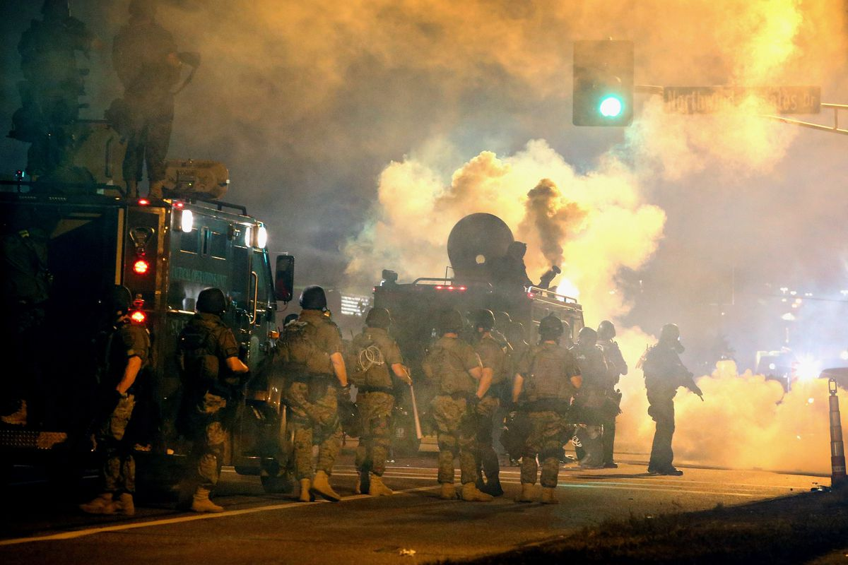 Police respond to protesters in Ferguson, Missouri.