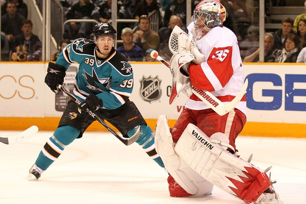 Logan Couture just threatened to tickle Jimmy Howard. Howard hates being tickled. The Sharks should probably try to use that to their advantage in the series.